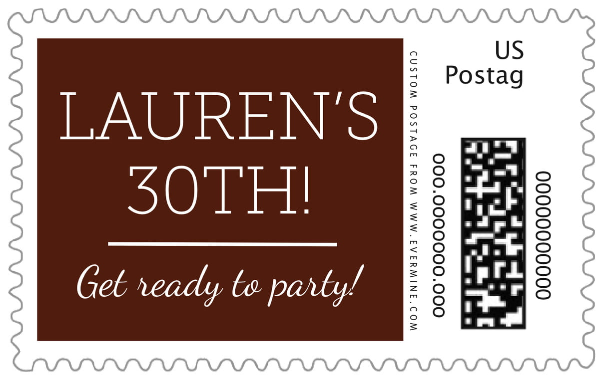 custom large postage stamps - chocolate - modern museo (set of 20)