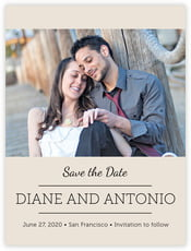 Modern Museo Save The Date Card In Champagne