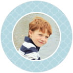 Morocco Circle Photo Label In Blue