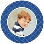 Morocco Circle Photo Label In Deep Blue
