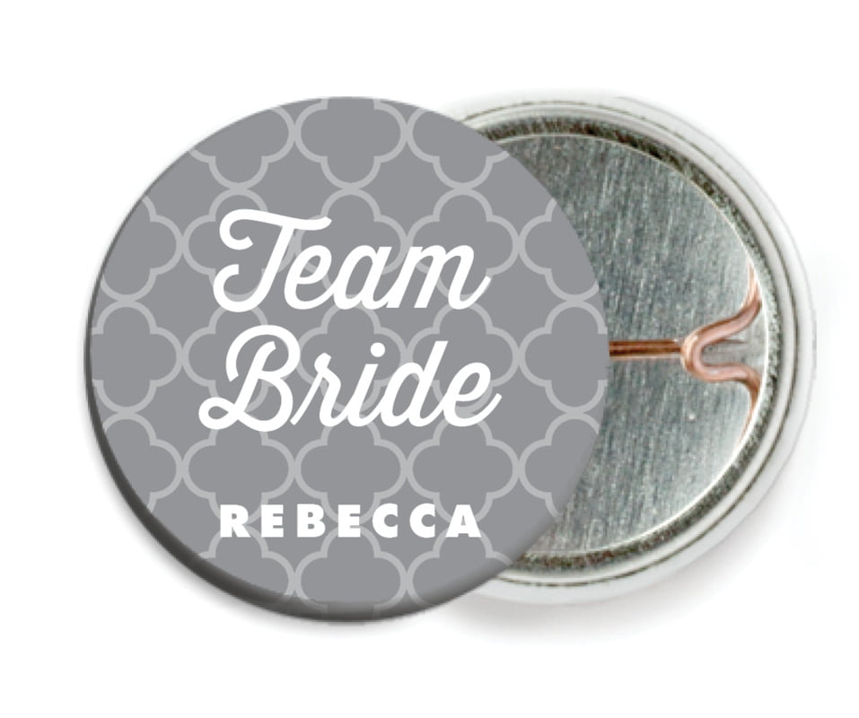 custom pin back buttons - grey - morocco (set of 6)