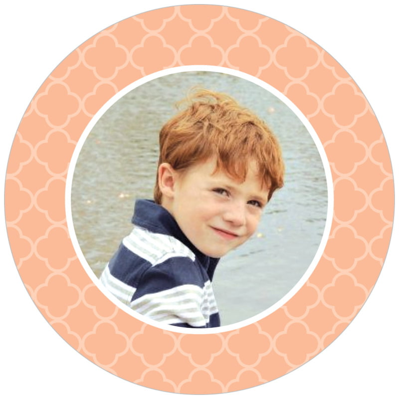 circle photo labels - peach - morocco (set of 20)