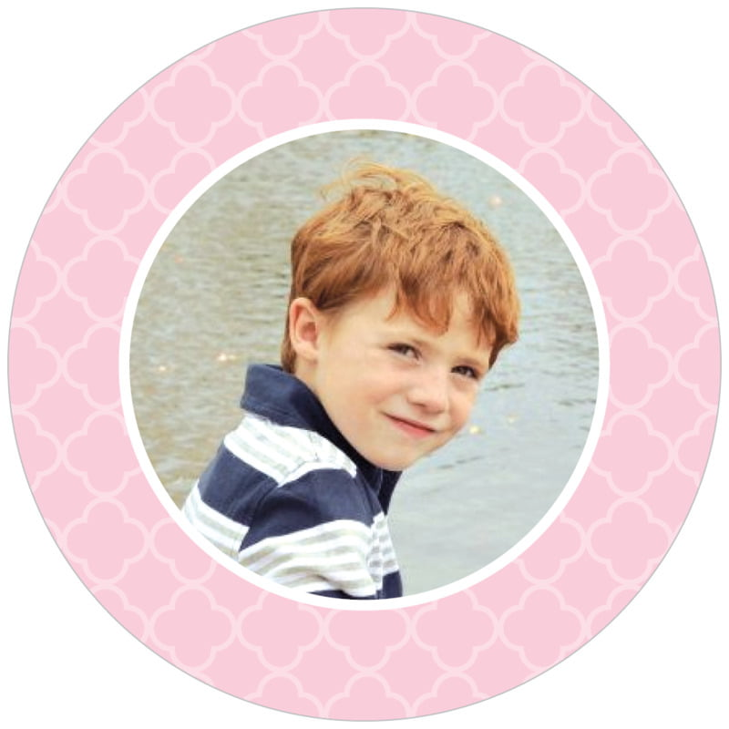 circle photo labels - pale pink - morocco (set of 20)