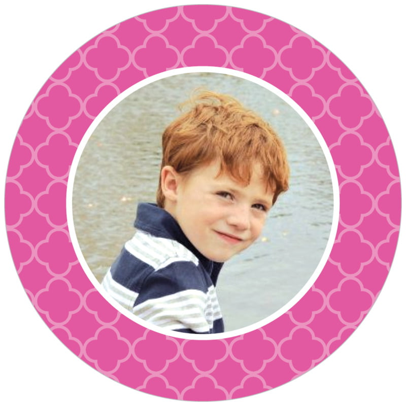 circle photo labels - bright pink - morocco (set of 20)