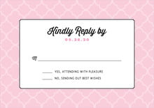 custom response cards - pale pink - morocco (set of 10)