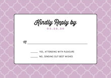 custom response cards - lilac - morocco (set of 10)