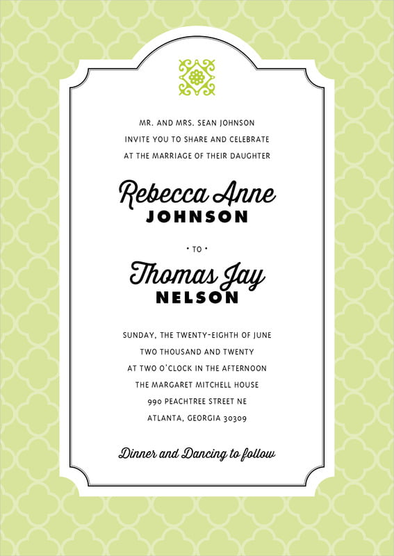 custom invitations - lime - morocco (set of 10)