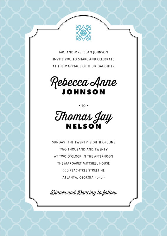 custom invitations - blue - morocco (set of 10)