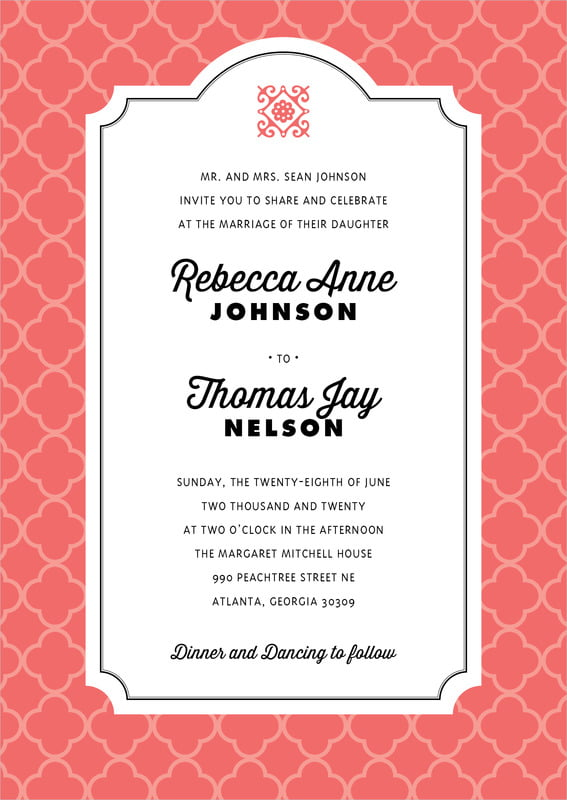 custom invitations - deep coral - morocco (set of 10)