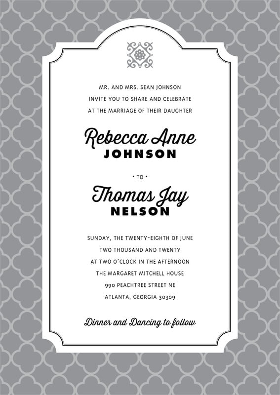 custom invitations - grey - morocco (set of 10)