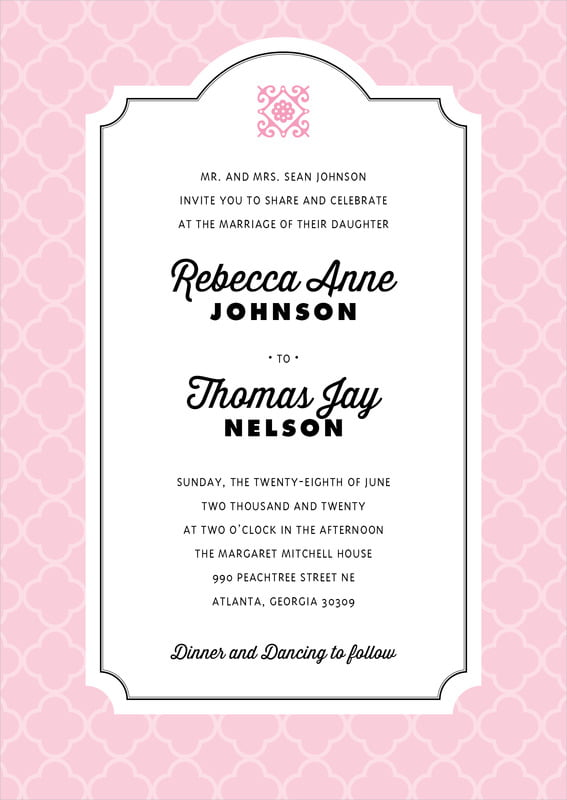 custom invitations - pale pink - morocco (set of 10)