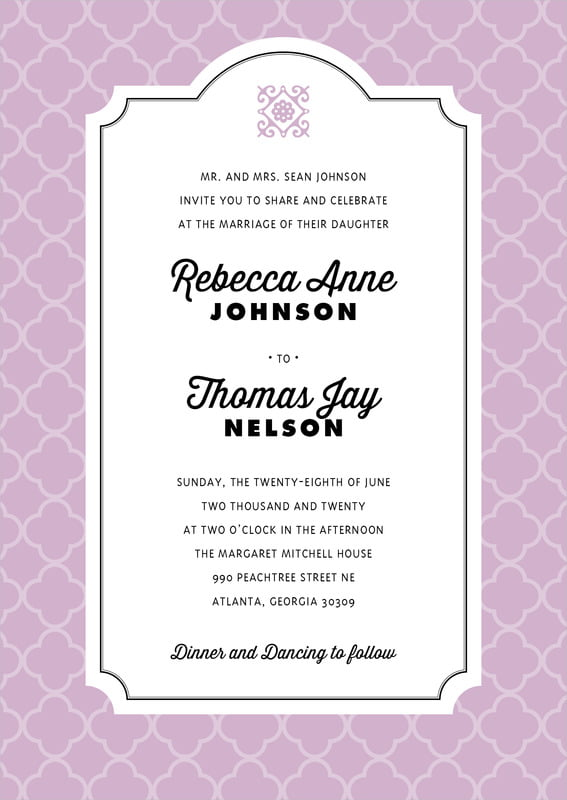 custom invitations - lilac - morocco (set of 10)