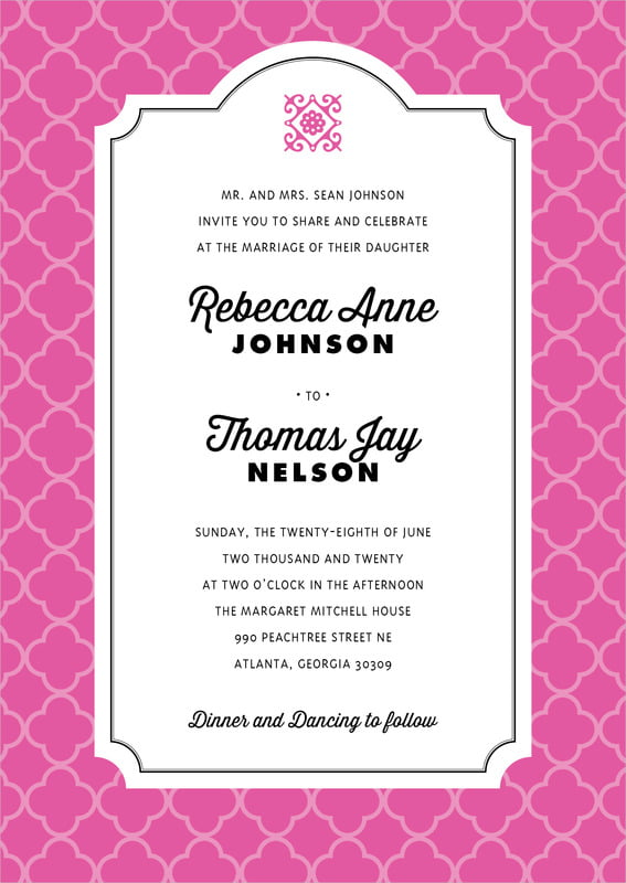 custom invitations - bright pink - morocco (set of 10)