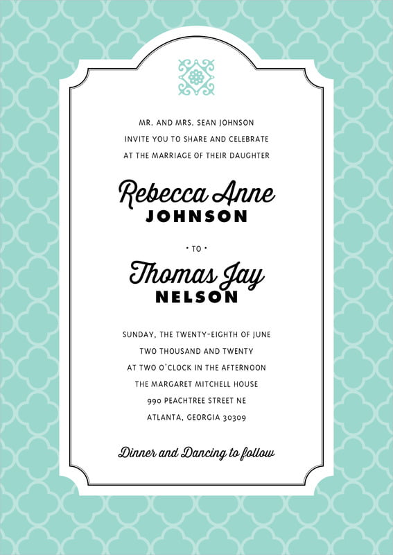 custom invitations - aruba - morocco (set of 10)
