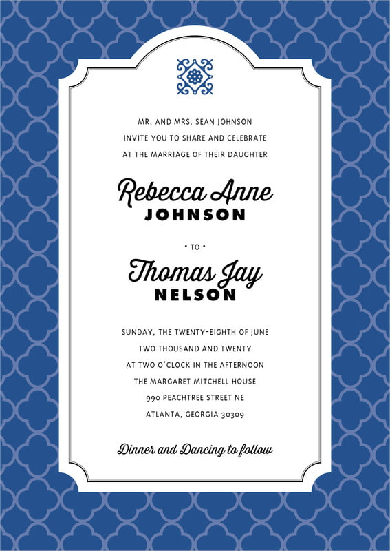 custom invitations - deep blue - morocco (set of 10)