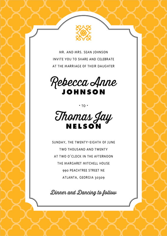 custom invitations - orange - morocco (set of 10)