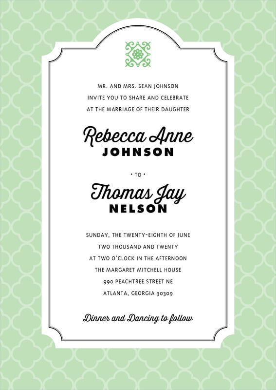 custom invitations - mint - morocco (set of 10)