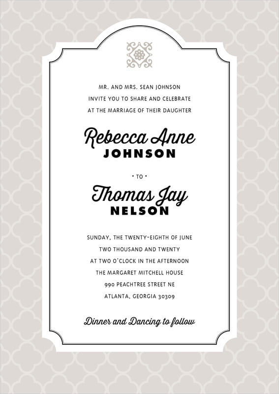 custom invitations - stone - morocco (set of 10)
