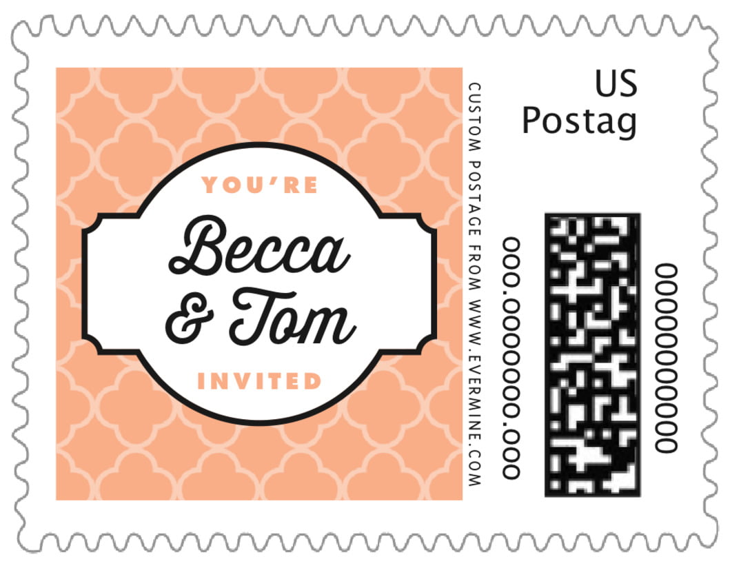 small custom postage stamps - peach - morocco (set of 20)