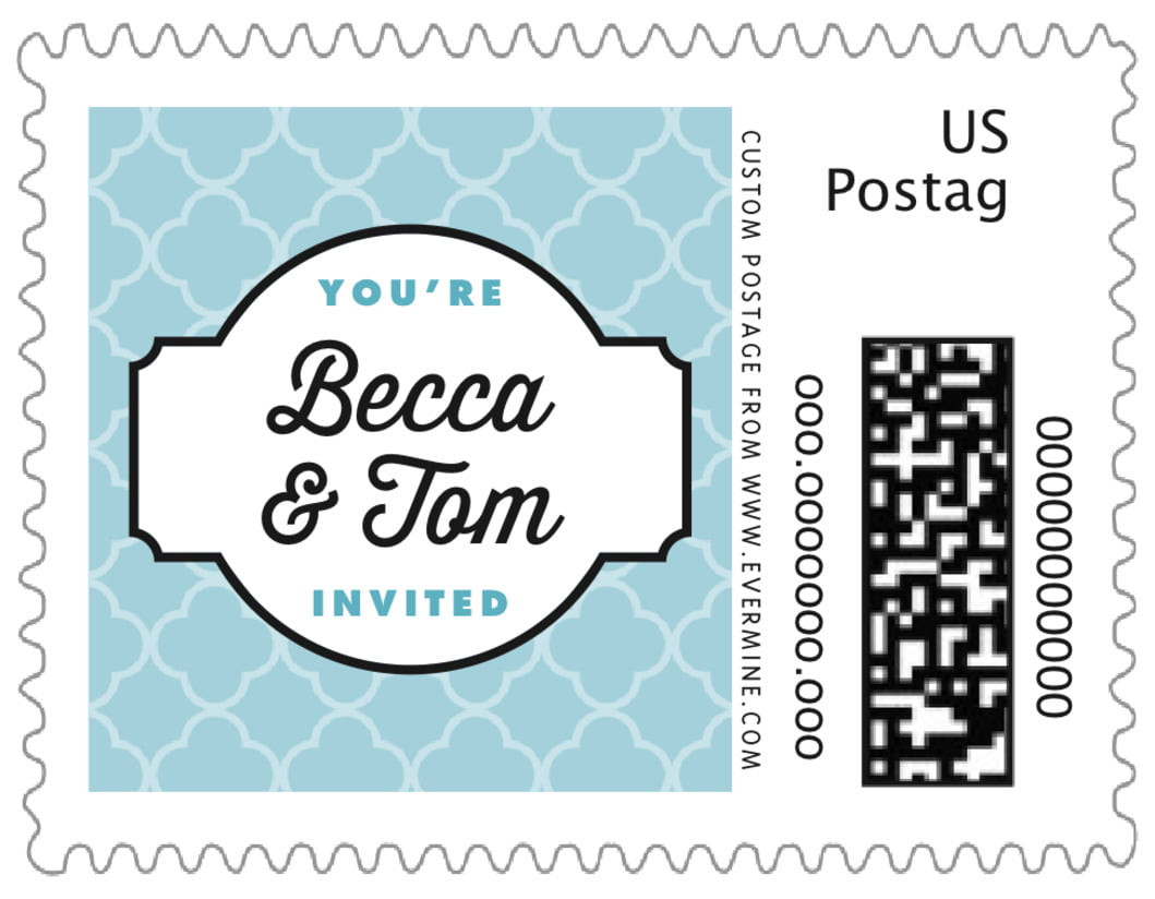 small custom postage stamps - blue - morocco (set of 20)