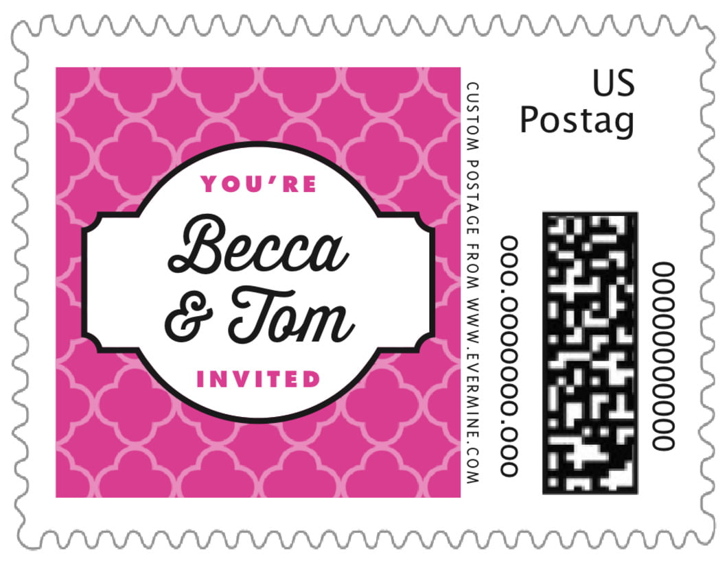 small custom postage stamps - bright pink - morocco (set of 20)