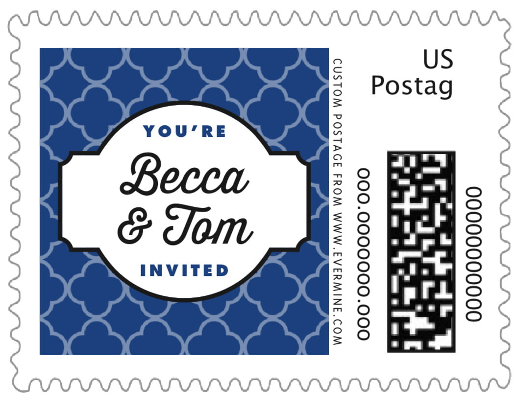 small custom postage stamps - deep blue - morocco (set of 20)