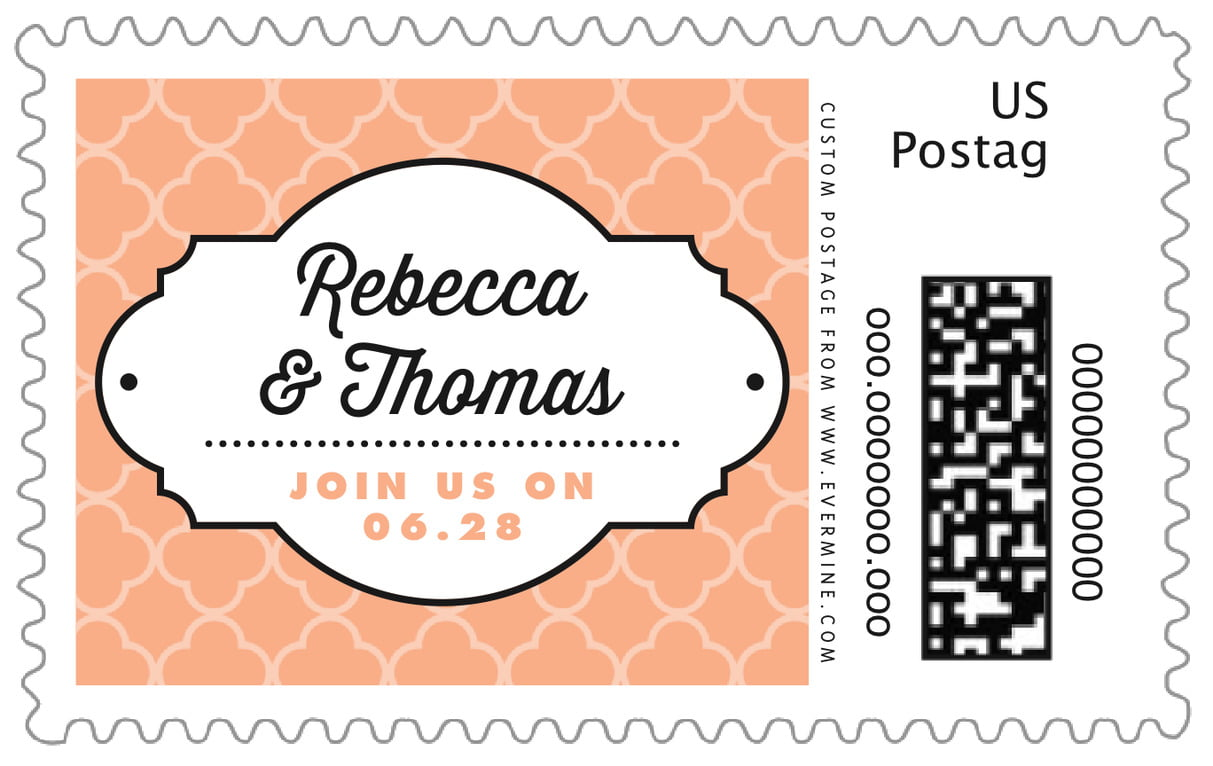 custom large postage stamps - peach - morocco (set of 20)