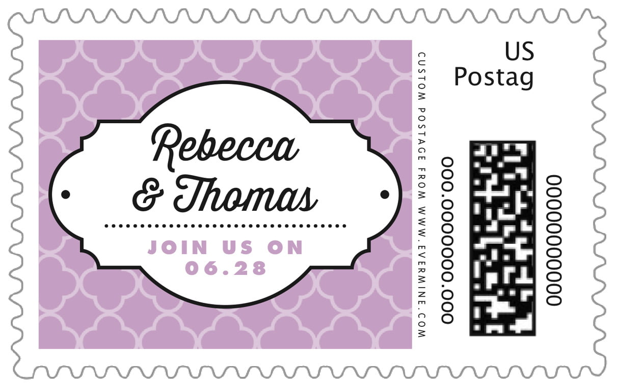 custom large postage stamps - lilac - morocco (set of 20)
