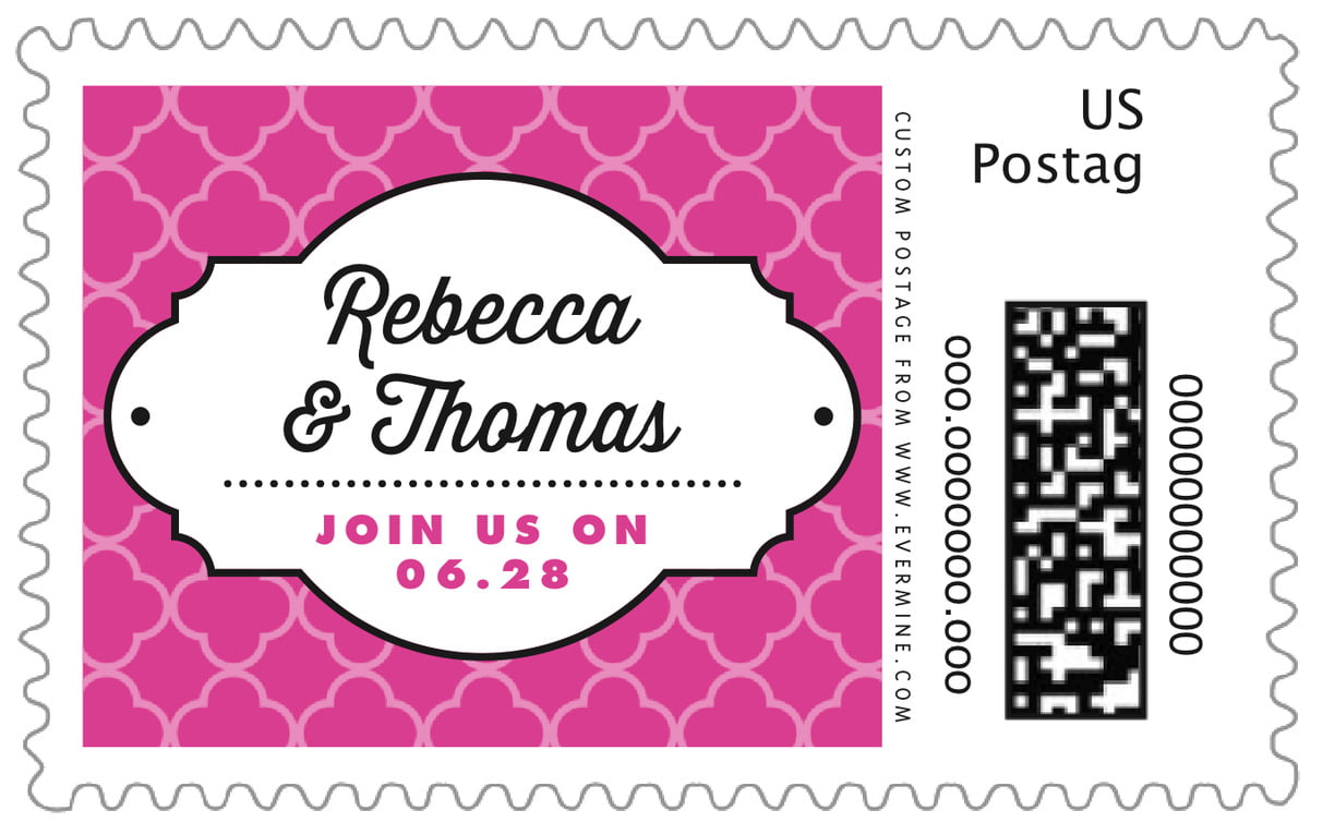 custom large postage stamps - bright pink - morocco (set of 20)