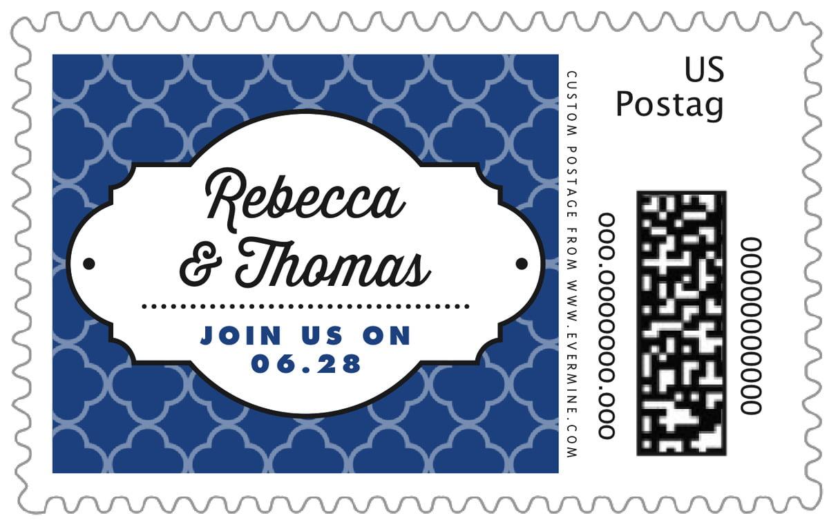 custom large postage stamps - deep blue - morocco (set of 20)