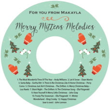 Merry Mittens Cd Label In Aqua