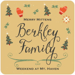 Merry Mittens square coasters