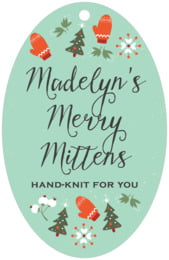 Merry Mittens large oval hang tags