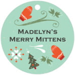 Merry Mittens circle hang tags