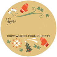 Merry Mittens large circle gift labels