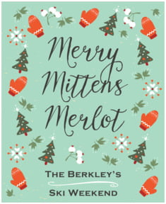 Merry Mittens holiday wine labels