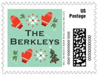 Merry Mittens christmas postage stamps