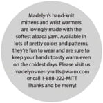 Merry Mittens circle text label