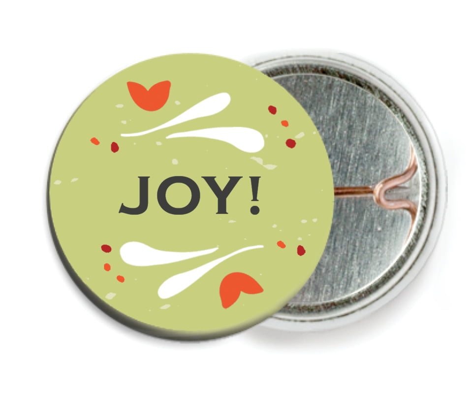 custom pin back buttons - green tea - merry mittens (set of 6)