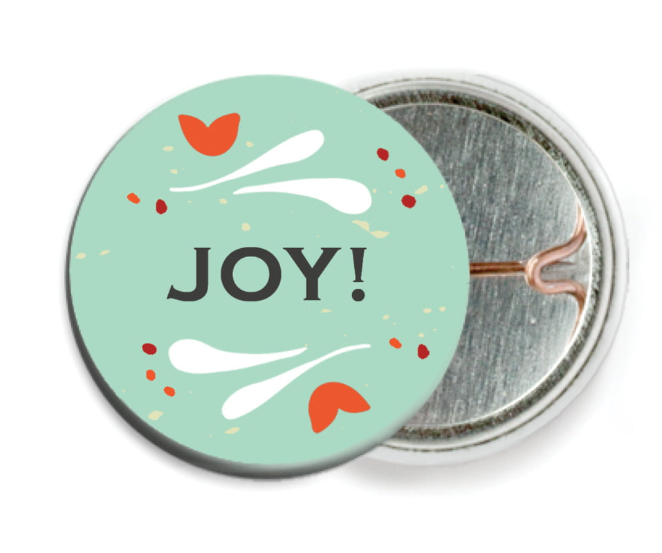 custom pin back buttons - aqua - merry mittens (set of 6)