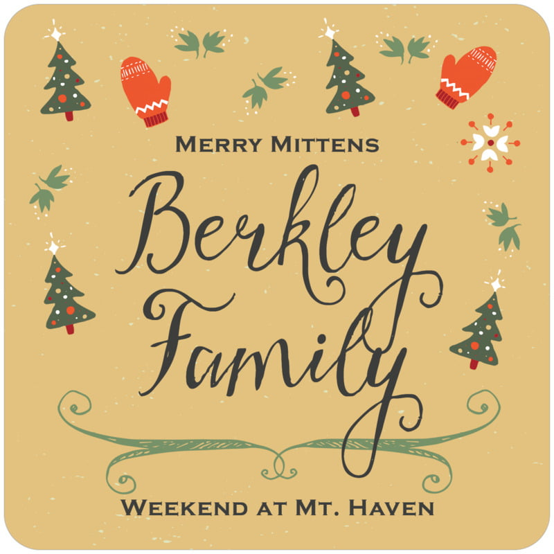 square holiday coasters - deep gold - merry mittens (set of 12)