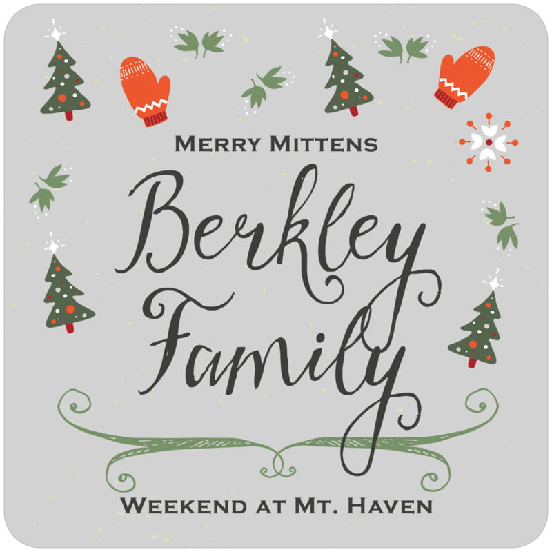 square holiday coasters - stone - merry mittens (set of 12)