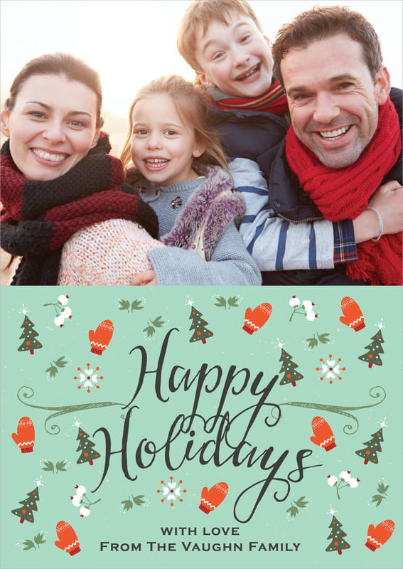 holiday cards - aqua - merry mittens (set of 10)