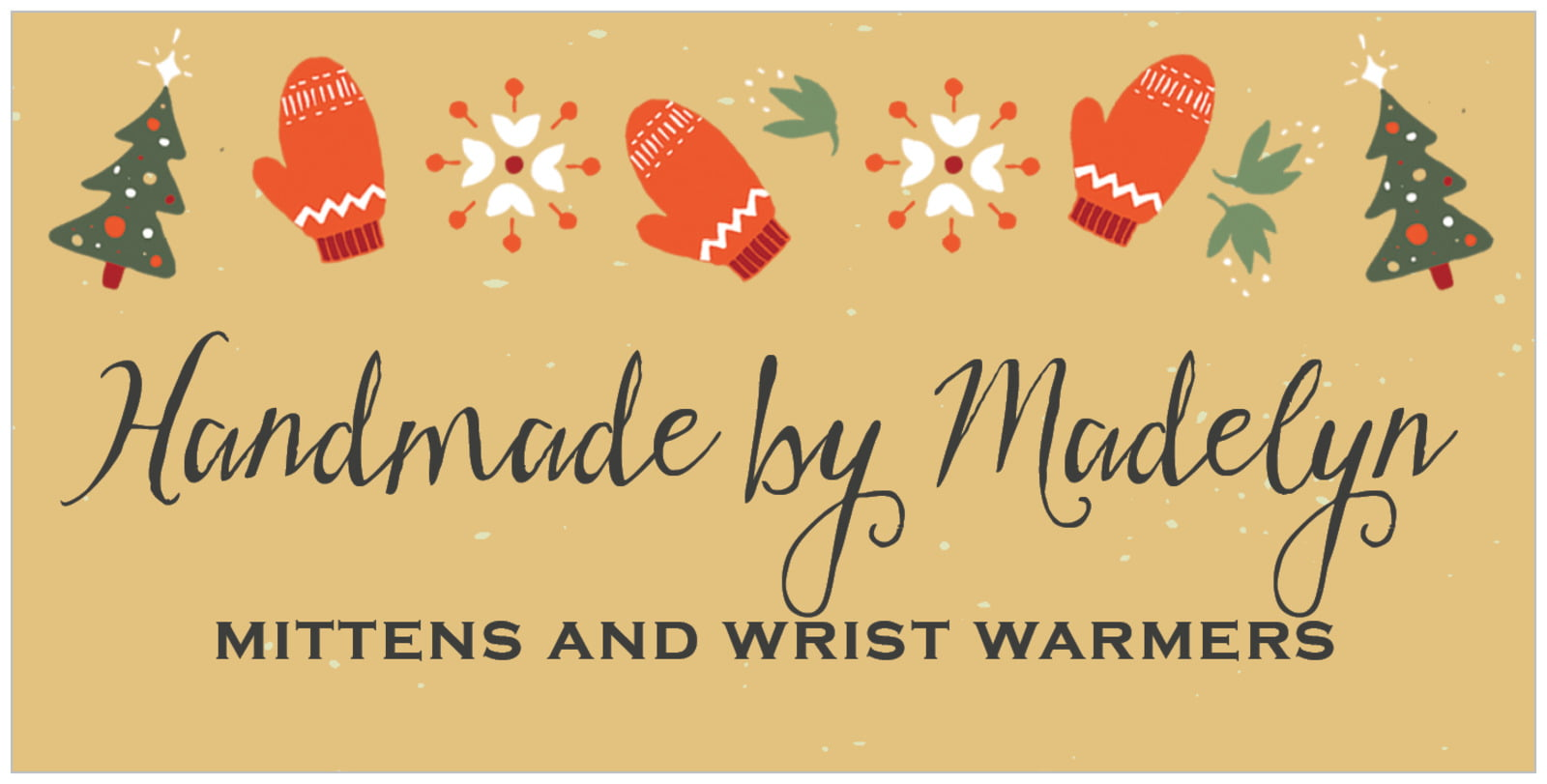 small rectangular food/craft labels - deep gold - merry mittens (set of 24)