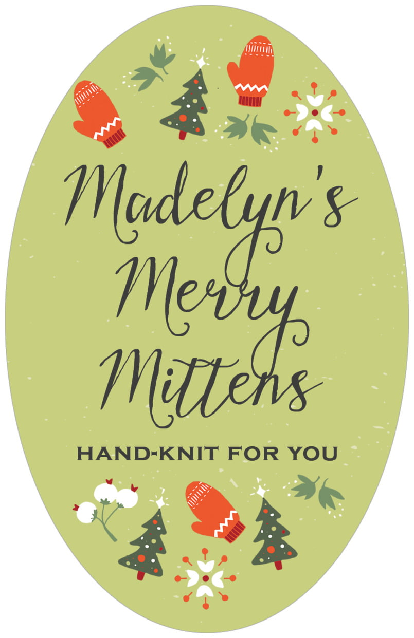 large oval food/craft labels - green tea - merry mittens (set of 8)