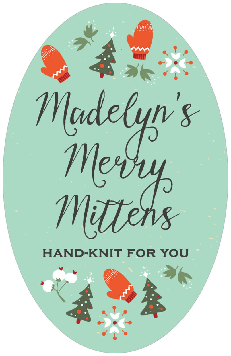large oval food/craft labels - aqua - merry mittens (set of 8)