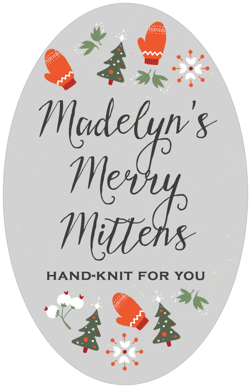 large oval food/craft labels - stone - merry mittens (set of 8)