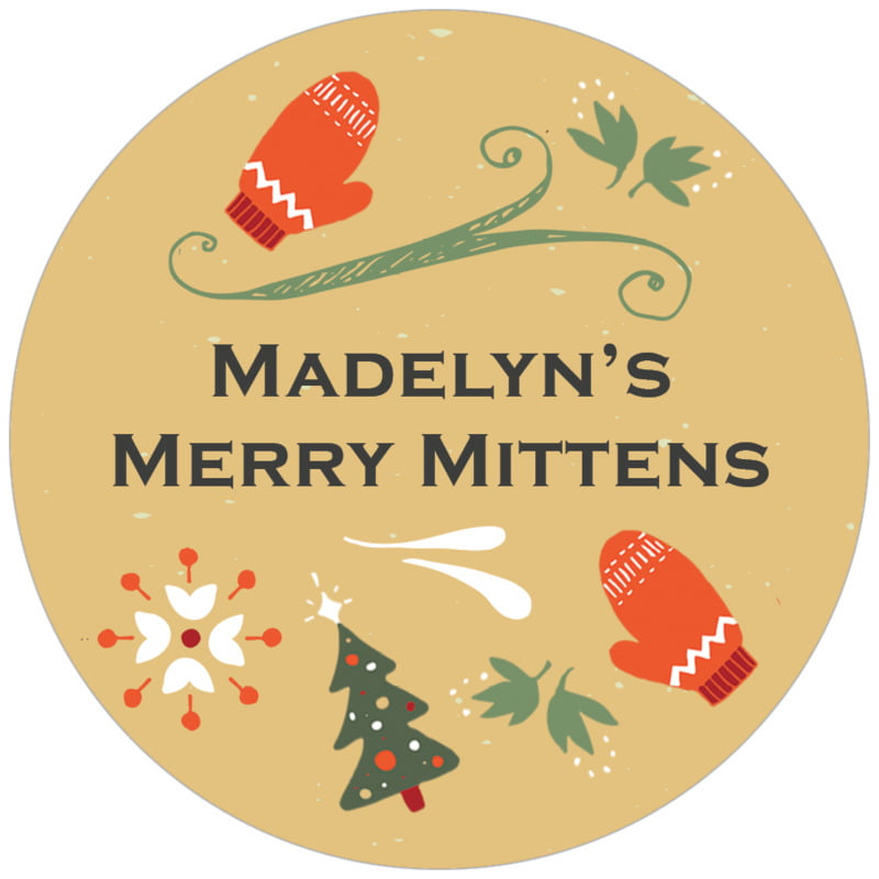 circle food/craft labels - deep gold - merry mittens (set of 20)