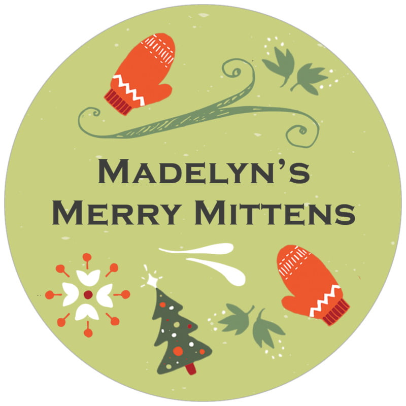 circle food/craft labels - green tea - merry mittens (set of 20)