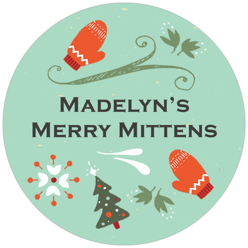 circle food/craft labels - aqua - merry mittens (set of 20)